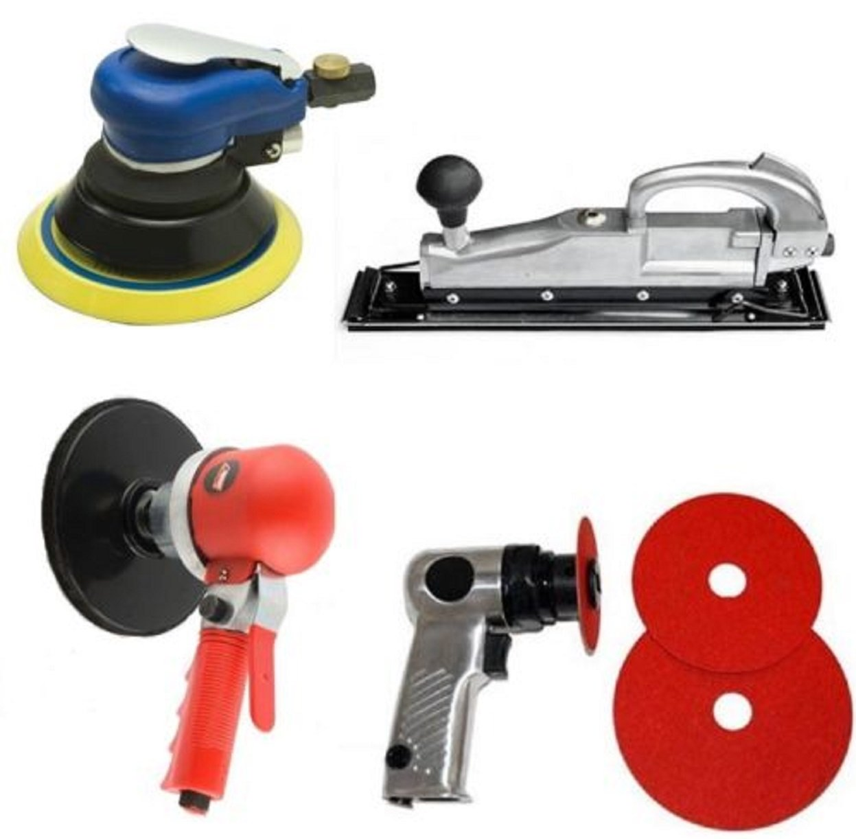 4 Pieces Air Auto Body Sander Set 6'' DA 5'' Orbital Palm 5'' High Speed Straight Line