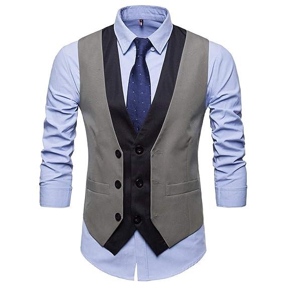 TIFIY Chaleco de Traje de Negocios de Hombres Formal Vestido ...