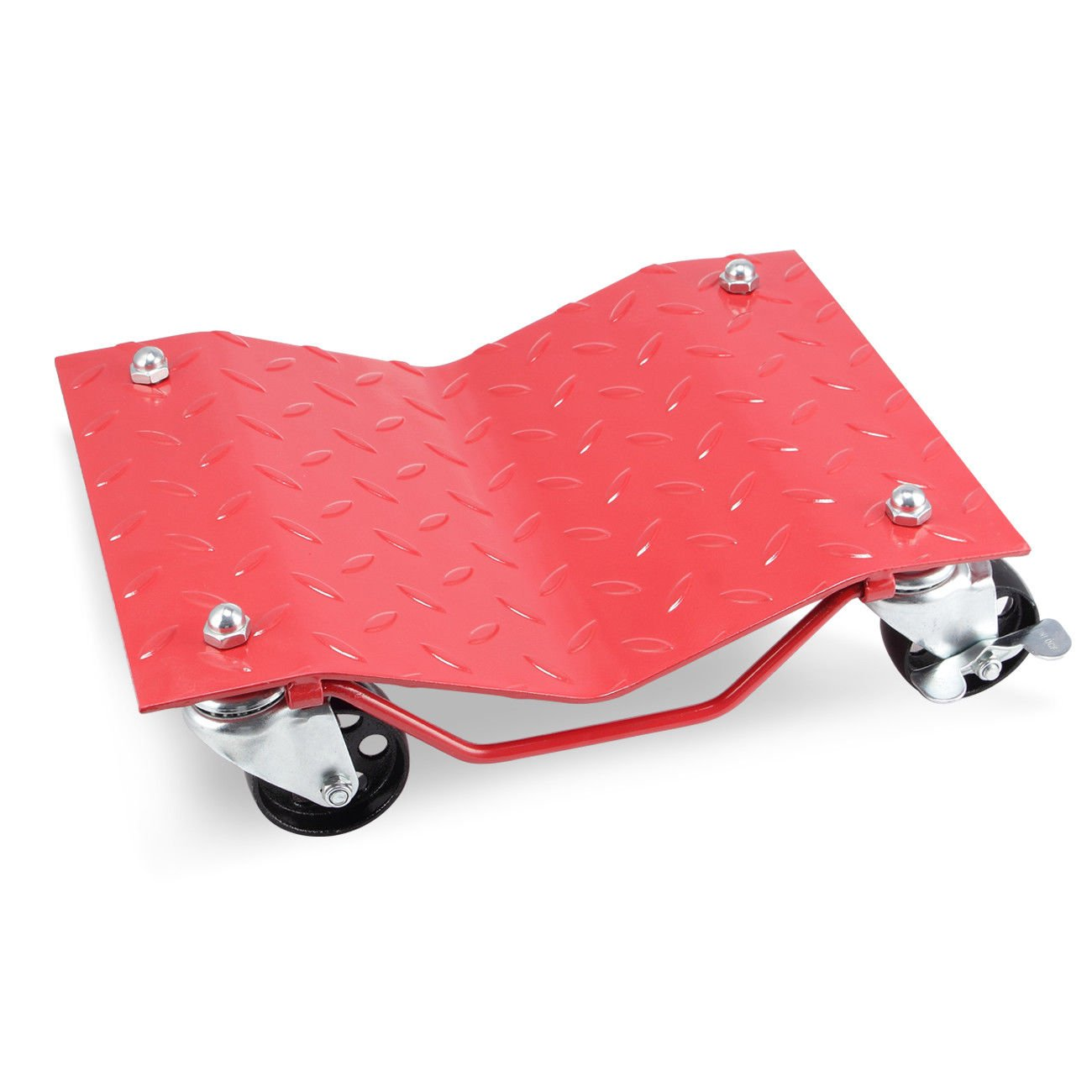 GHP 2-Pcs Red 1500-Lbs Capacity Steel Car Wheel Dollies with 3'' Casters & Lock by Globe House Products (Image #2)