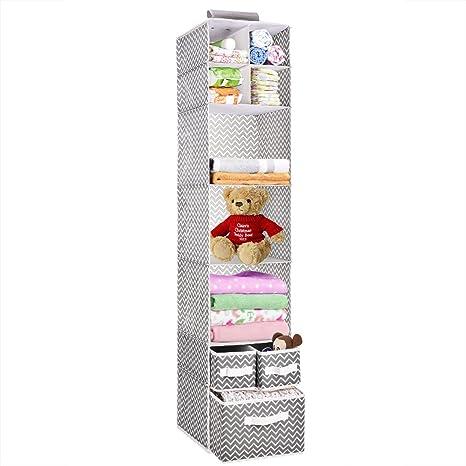 MaidMAX estante colgante para armario con 3 cajones, 7 niveles, plegable, Chevron,