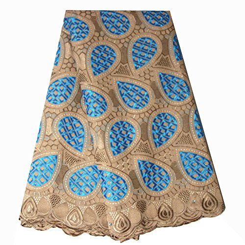 pqdaysun African Swiss Voile Lace Fabric Nigerian French Lace Net Fabric Embroidered Fabric 5 Yards for Wedding Party F50733 (Coffee)