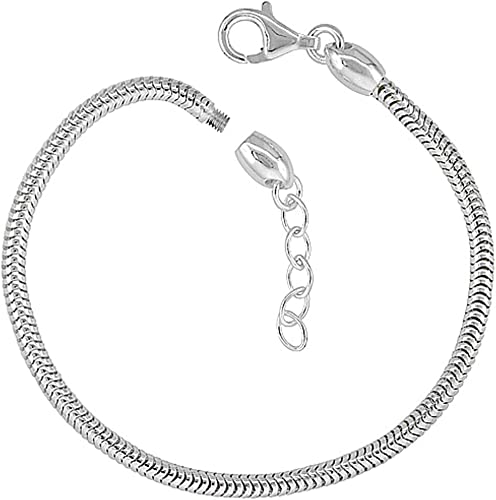 Sterling Silver Bead Charm Bracelet 3mm Snake Chain Screw Cap Pandora  Compatible Nickel Free Italy, 7.5-8 inch