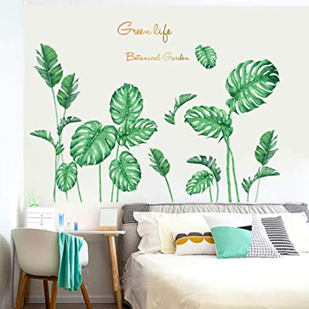 Tropical Leaves Green Plant Wall Stickers PVC Nursery Decal Art Mural Home Decor
