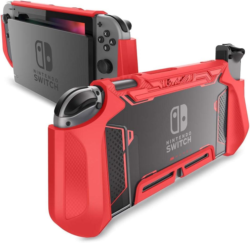 Mumba Funda acoplable para Nintendo Switch, Case Funda Protectora TPU Grip Funda de Agarre Compatible con la Consola de Nintendo Switch y Controlador Joy-con (Rojo)