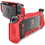 mumba - Funda Protectora para Nintendo Switch, Funda de Agarre Resistente para Consola Nintendo con cómodo Agarre Acolchado y función Atril (Rojo)