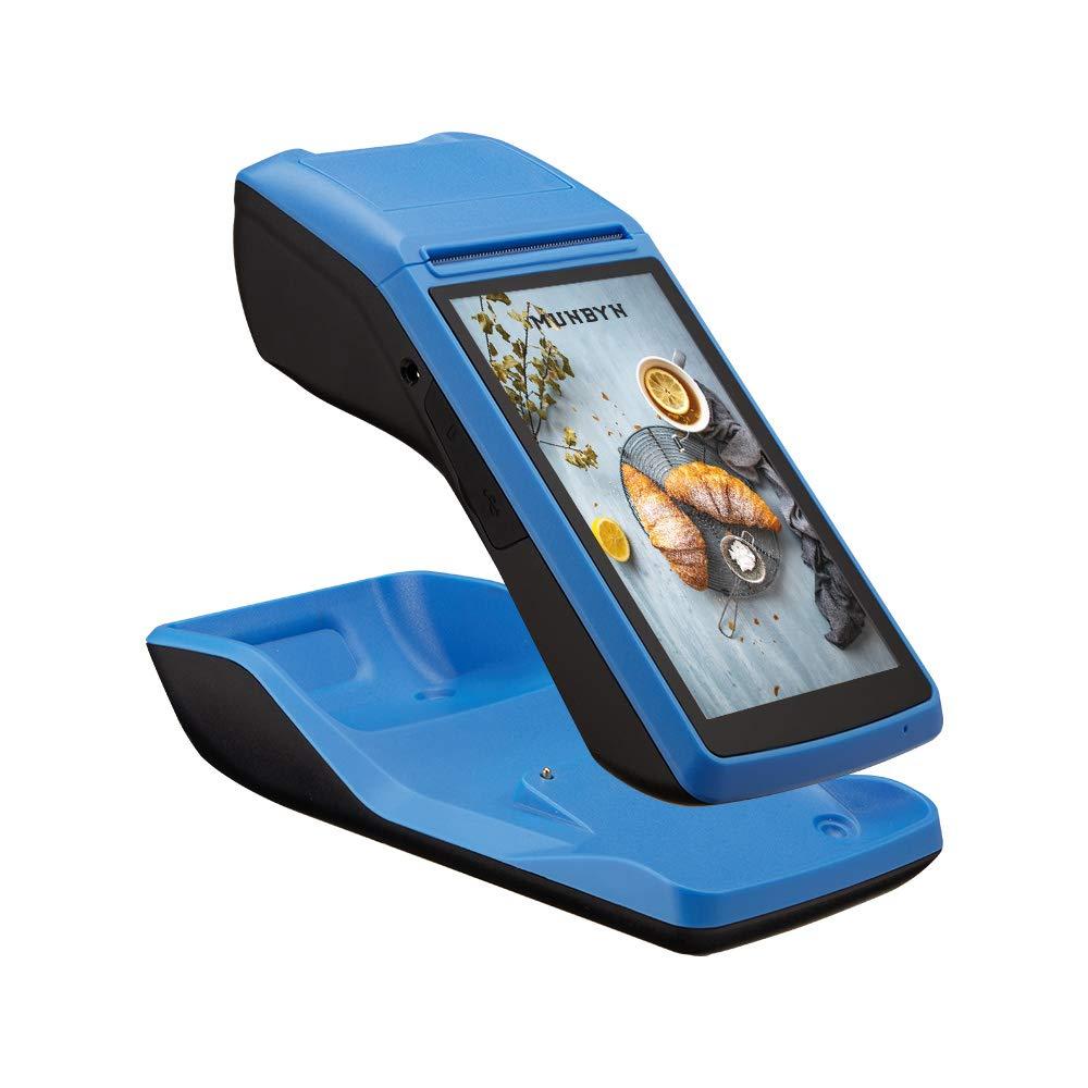 MUNBYN PDA Android Terminal con Base Cargador & Impresora de Recibos Térmica Lector Código de Barras, 5 Pulgadas con NFC/WiFi/Bluetooth Ordenador en ...