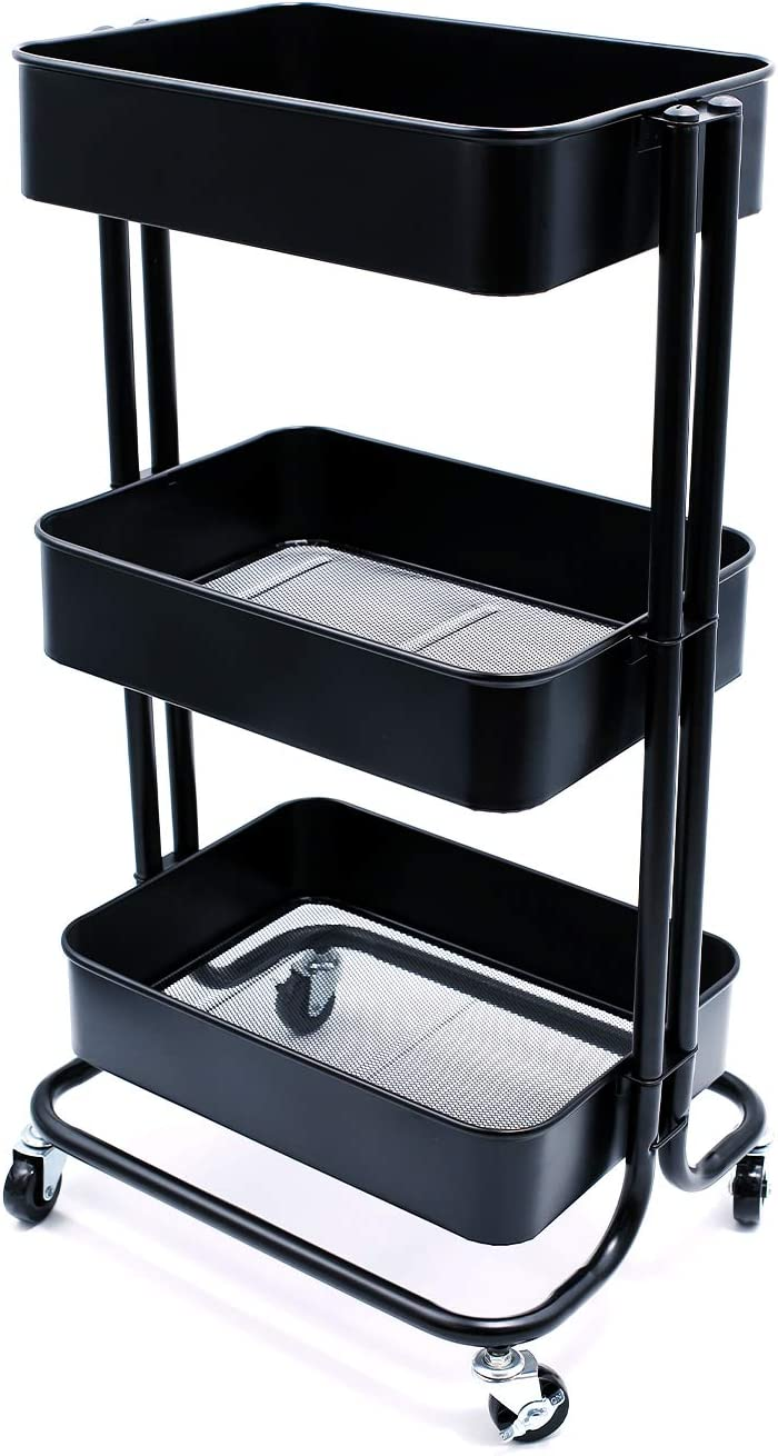 JANE EYRE 3-Tier Metal Rolling Storage Utility Cart on Wheels Storage Shelves for Bathroom, Kitchen, Office, Bedroom. Easy Assembly Storage Trolley Service Cart with Mesh Baskets Black