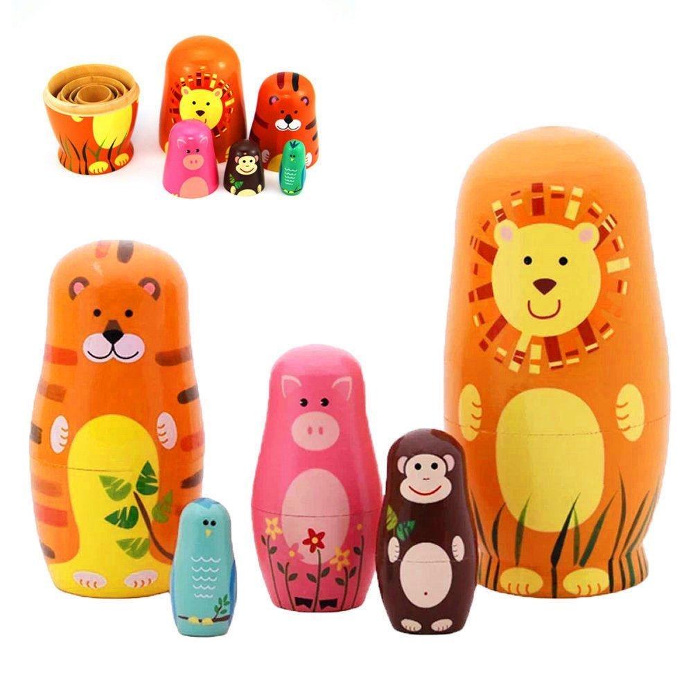 Maxshop 5 Pieces 6'' Tall Cute Nesting Dolls Matryoshka Doll Russian Matryoshka Doll Handmade Wooden Dolls Cartoon Animals Pattern Toy Gift by Maxshop (Image #1)