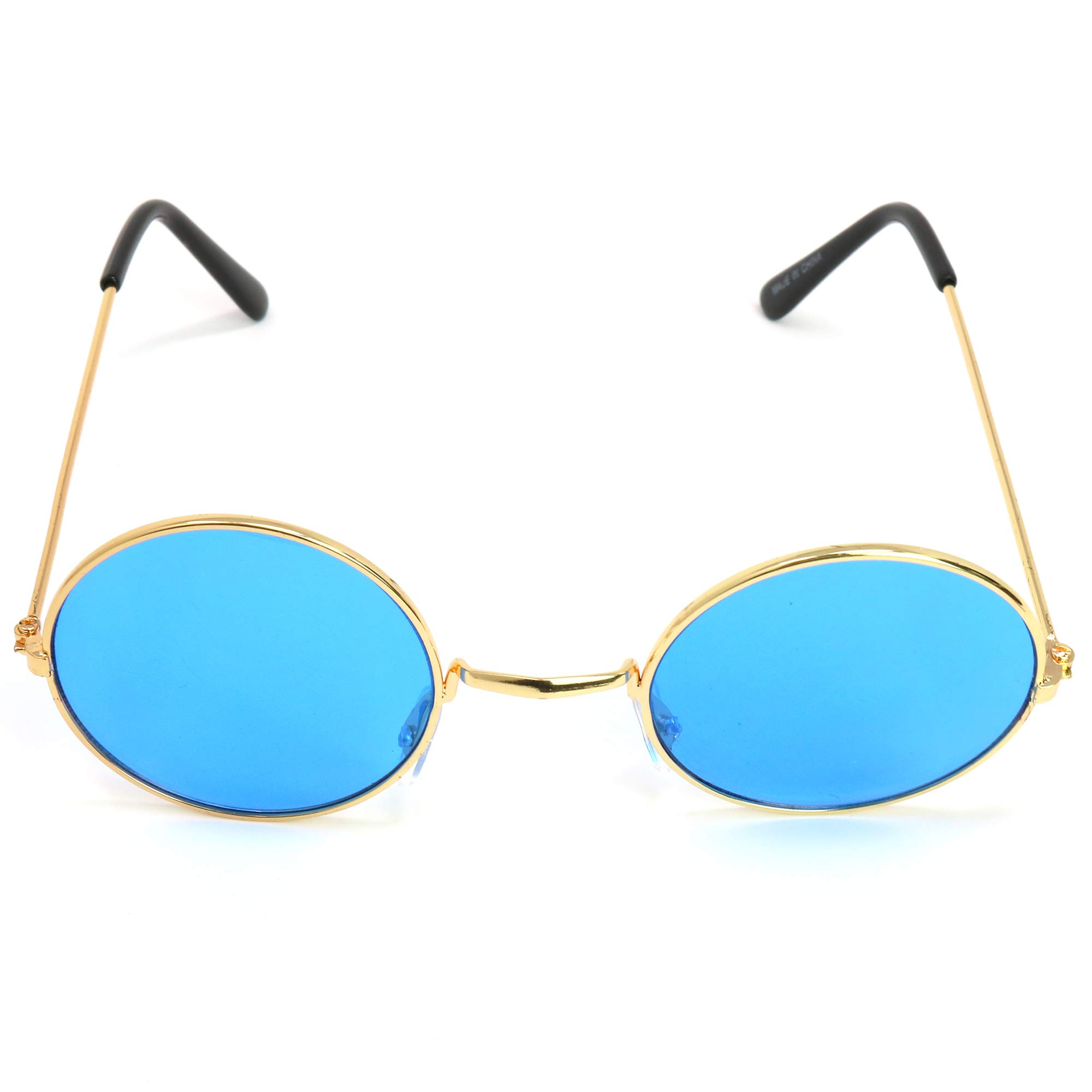 61b159c40ab7 Skeleteen John Lennon Hippie Sunglasses – Blue 60's Style Circle Glasses – 1  Pair