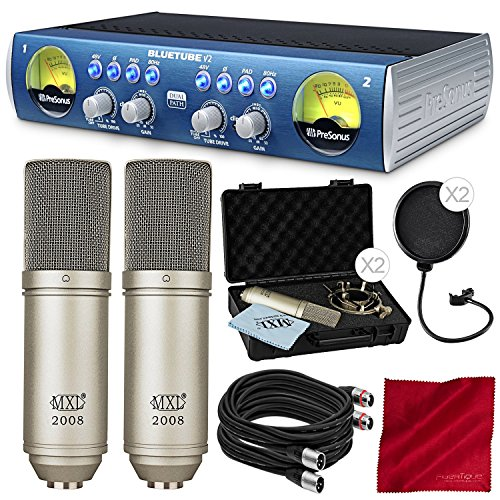PreSonus BlueTube DP V2 2-channel Mic/Instrument Tube Preamp with 2X MXL 2008 Condenser Microphone, 2X Mic Pop Filter, Premium (Blue Tube Dp Mic Preamp)