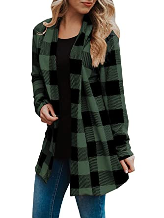 9bdb9fe9f2e787 Womens Buffalo Plaid Long Sleeve Plus Size Open Front Elbow Patch Cardigans  Army Green