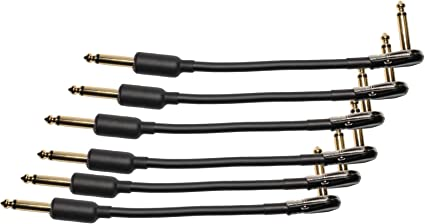 "Pedal Cable   1//4/"" Low profile angle to 1//4/"" straight 10/"" Combo Patch"