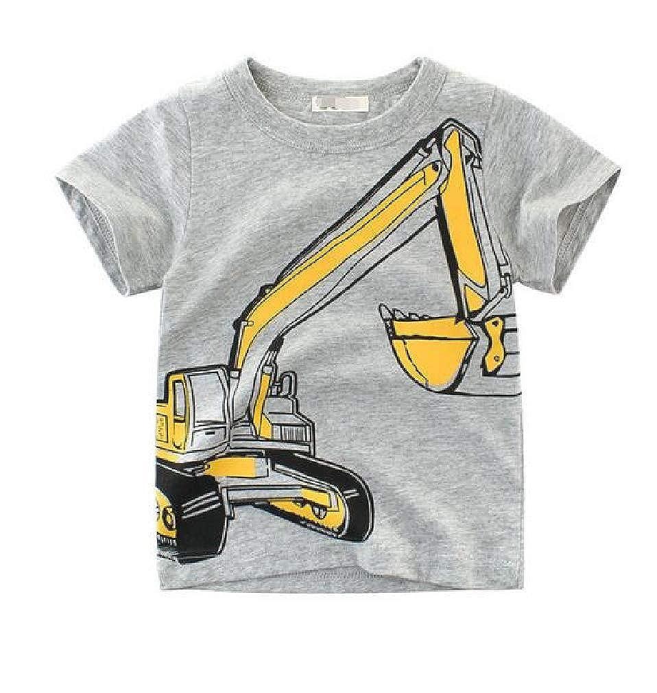 Cromoncent-CA Boys Children Kids Short-Sleeve Round-Neck Print T-Shirt Top Tee