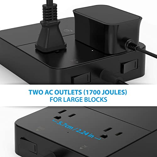 TROND Prime Mini 2-Outlet Surge Protector Power Strip with USB Charger 5-Port Smart, 40W 8A, Latest DoE Level VI Energy Efficiency , 5ft Power Cord, for Office, Hotel, Nightstand Dresser Renewed