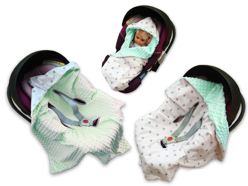 BABEES© MINKY Couverture de protection pour siège auto pour bébé [STERNE WEI+ MINT] SELLIT