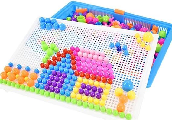 Resultado de imagen para puzzle toy,diy puzzle toys 296 tablets qiaoqiao variety mushroom nail puzzle board by dacawin (multicolor)
