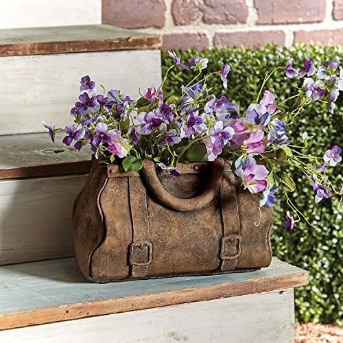 Gladstone Bag Planter - Satchel Handbag Shaped Cast Cement Flower (Cast Cement)