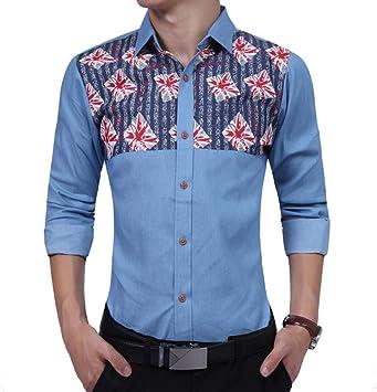 CHENS Camisa/Casual/Unisex/L Moda Hombre Camisa de Manga Larga de impresión Cowboy para Hombre Camisas de Vestir Slim Men Shirt XXL: Amazon.es: Deportes y aire libre