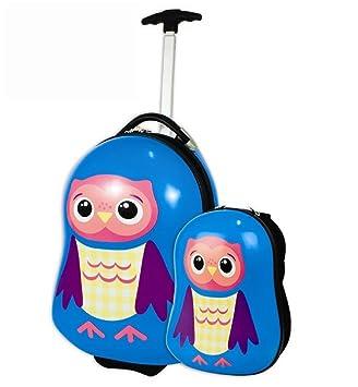 Owl Design Childrens Kids Travel Luggage Suitcase & Backpack Hard ...
