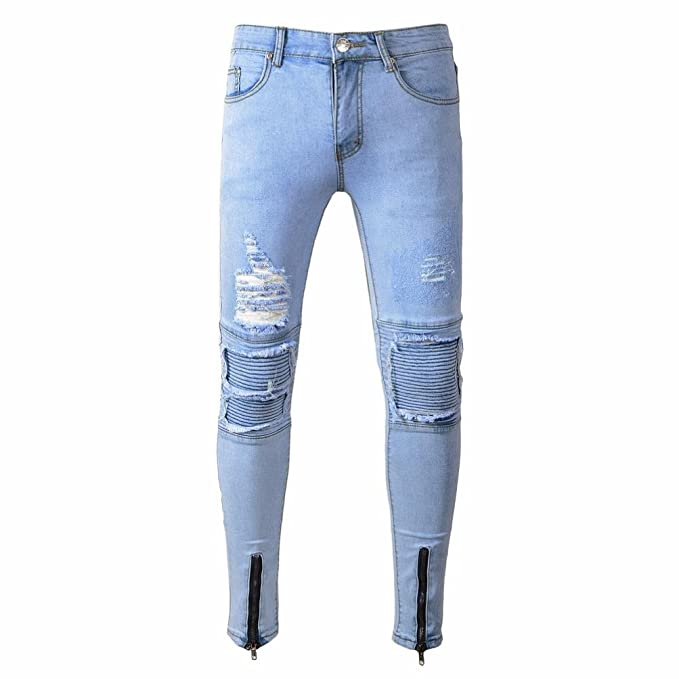 9c282040 Sannysis Mens Ripped Jeans Slim Fit Motorcycle Vintage Denim Blue Jeans  Hiphop Streetwear Pants Designer Jeans