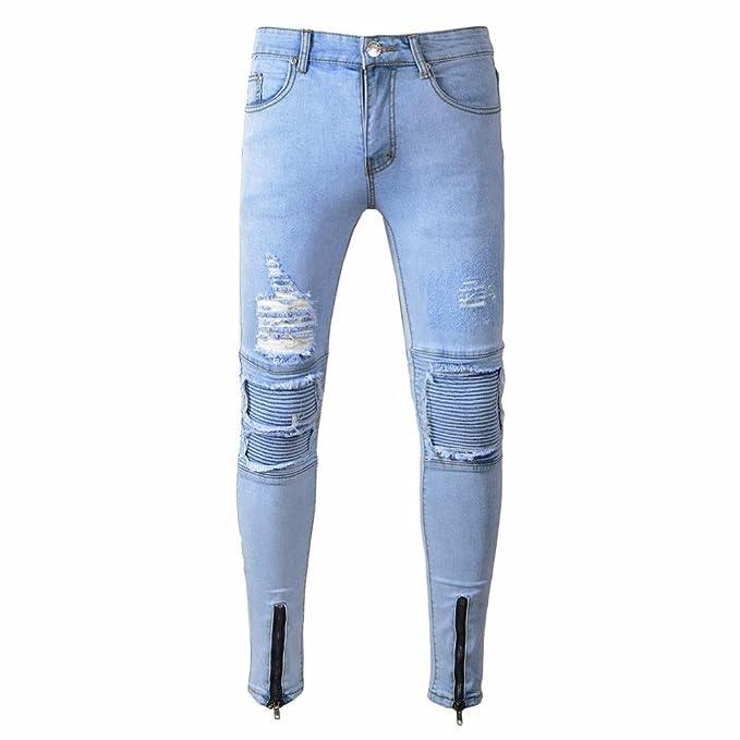 db72cd19a4f7 Sannysis Mens Ripped Jeans Slim Fit Motorcycle Vintage Denim Blue Jeans  Hiphop Streetwear Pants Designer Jeans