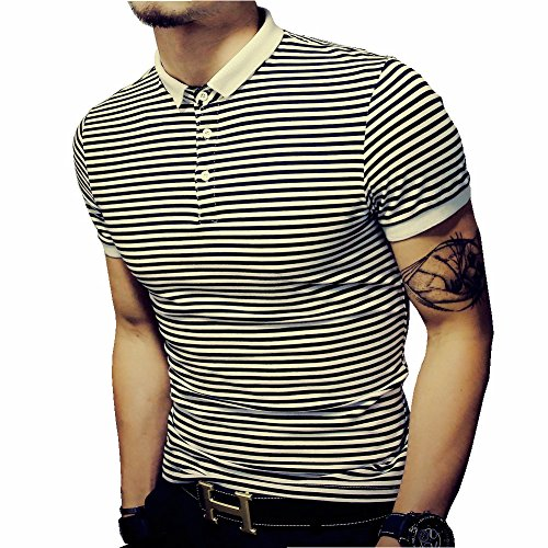 - LOGEEYAR Mens Summer Slim Fit Tshirt Contrast Color Stitching Stripe Short Sleeve Casual Polo Shirt