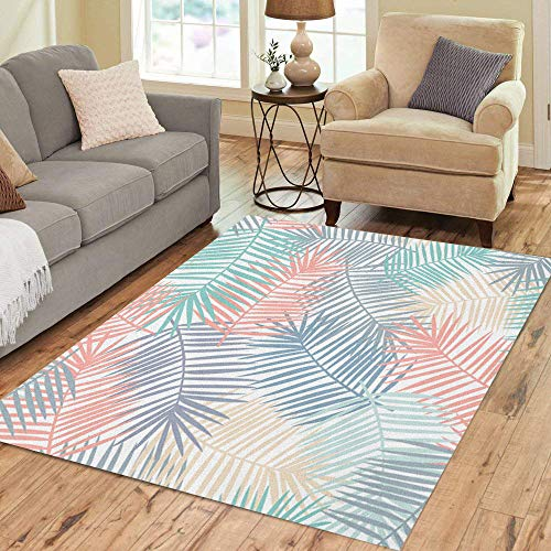 Pinbeam Area Rug Beautiful and Colorful Pattern Featuring Coral Blue Yellow Home Decor Floor Rug 5' x 7' Carpet ()