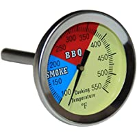 "VICOOL 2"" 550F BBQ Charcoal Grill Pit Wood Smoker Temperature Gauge Thermometer 2.5"" STEM, STM SS RWB"