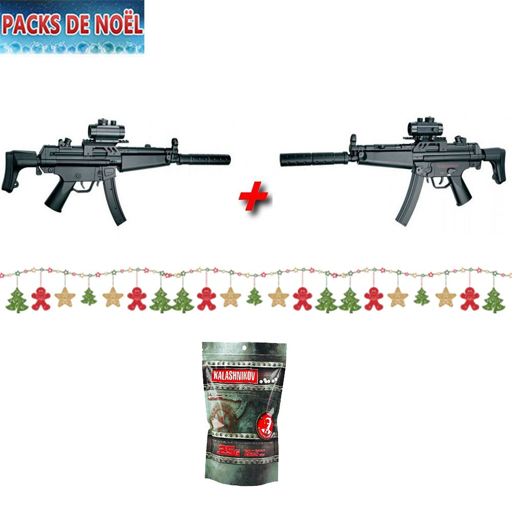 Fucile elettrico semi automatico / automatico Cm023 tipo MP5 ABS per softair, stile GIGN / GIPN / SWAT / Polizia, lotto di 2, con 1 sacchetto di pallini, 0,5 joule, confezione di Natale Cyma