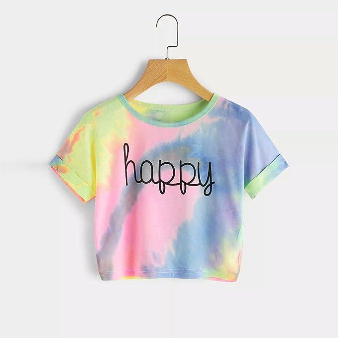 Auifor Camiseta degradada para Mujer con Estampado de Blusas Crop ...