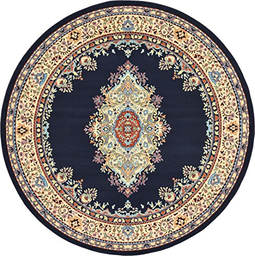A2Z Rug Traditional Navy Blue 8' Feet Round Mashad Collection Area rug Perfect for any floor & -