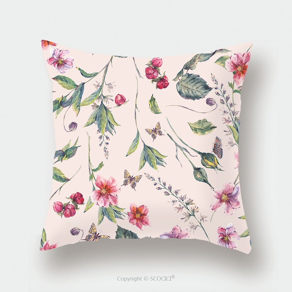 Custom Satin Pillowcase Protector Watercolor Vintage Floral Seamless Background With Pink Wildflowers And Butterflies Natural 475328422 Pillow Case Covers Decorative