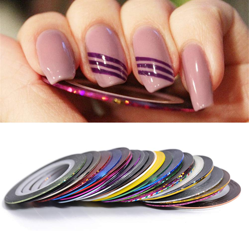 NICOLE DIARY 1mm Multicolor Mixed Colors Rolls Striping Tape Line Nail Art Decoration Sticker DIY Nail Tip (30 Colors Set) by NICOLE DIARY