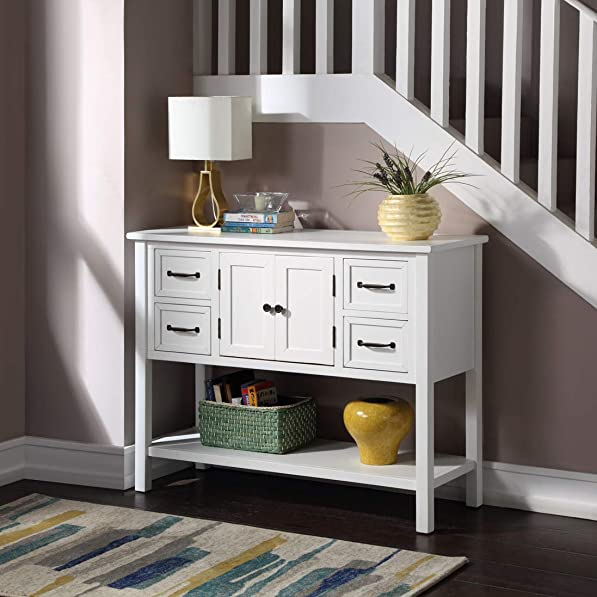 Console Table Sofa Table for Entryway 43 Wood Sofa Table with 4 Drawers, 1 Cabinet and 1 Shelf for Hallway Living Room