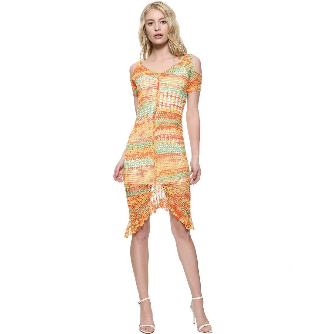 ZORJAR Women's V Neck Sexy Hollow Crochet Lace Dress by ZORJAR