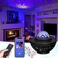 GOHYO Nachtlampje sterprojector, planetaire projector met muziekluidspreker en timer, Bluetooth-afstandsbediening voor…