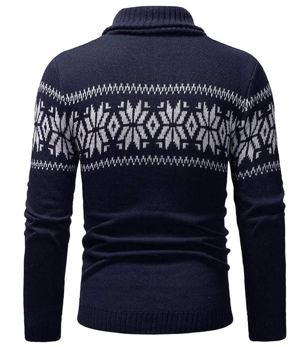 XiaoTianXinMen XTX Men Long Sleeve Knitwear Fashion Print Cowl Neck Pullover Sweater