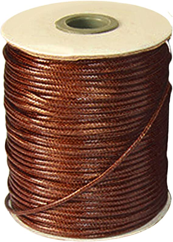 Y06115 Charming Beads Continuous Length 5m x Brown Waxed Cotton 1mm Thong Cord