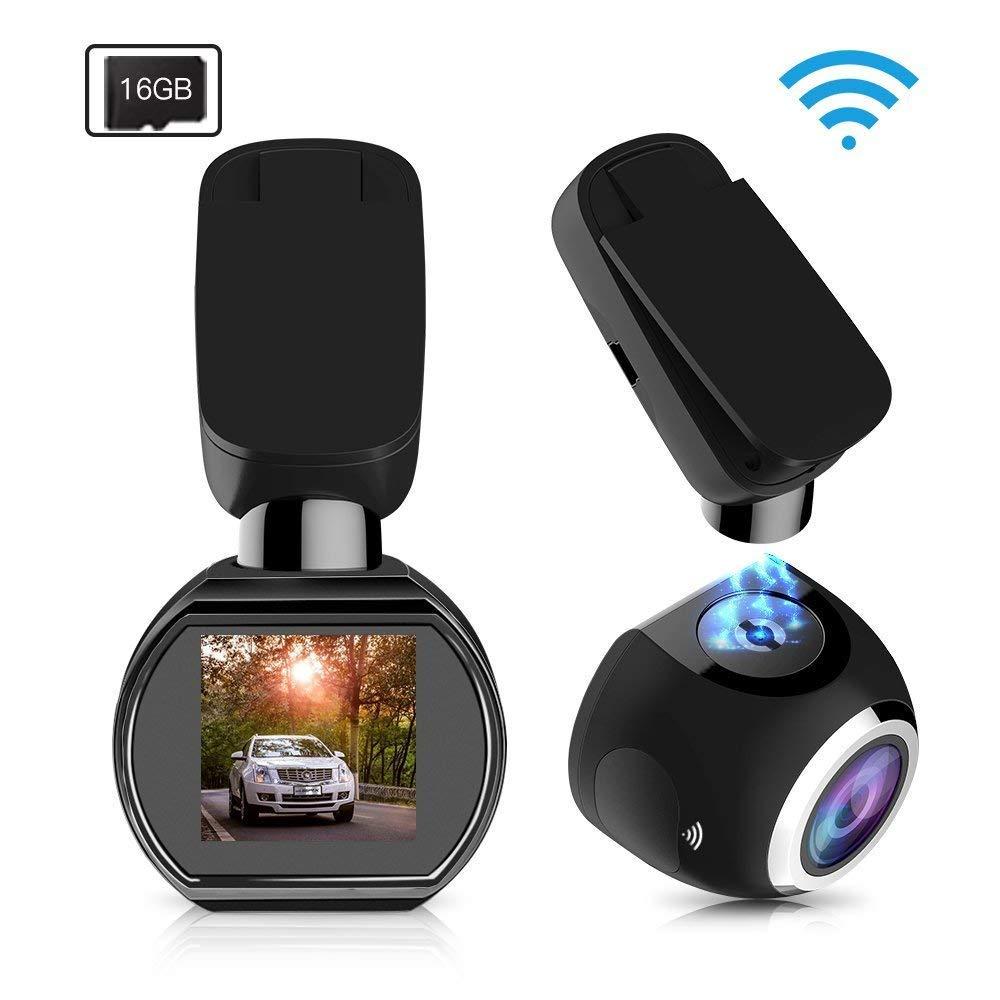 HQBKiNG Caméra Voiture Dashcam WiFi Mini 1080P Caméra de Voiture avec Vision Nocturne magnétique 360 ° Rotation Stand G-Capteur Moniteur de stationnement Carte de Soutien 128G Max Q1