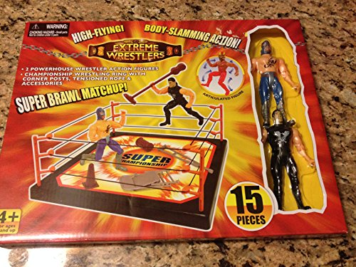 Extreme Wrestlers Super Brawl Matchup & Lot of 20 Wrestling Cards & Includes 2 Powerhouse Wrestling Action FIgures, Championship Wrestling Ring with Corner Posts, Tensioned Rope & Accessories - 2 Post Cards