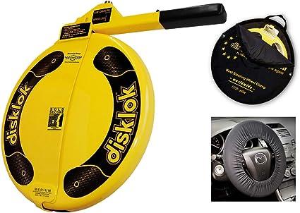 protecci/ón de airbag Disklok M 415 amarillo Cepo para volante Di/ámetro de volante: 38,6-41 cm