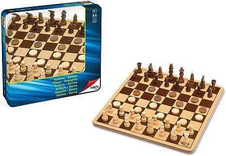 Cayro - Set de Ajedrez y Damas de Madera en Caja metálica (751): Amazon.es: Juguetes y juegos