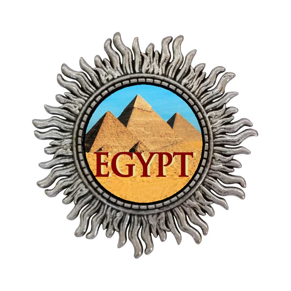 GiftJewelryShop Ancient Style Silver Plate Travel Egypt pyramids Sun Shape Pins Brooch
