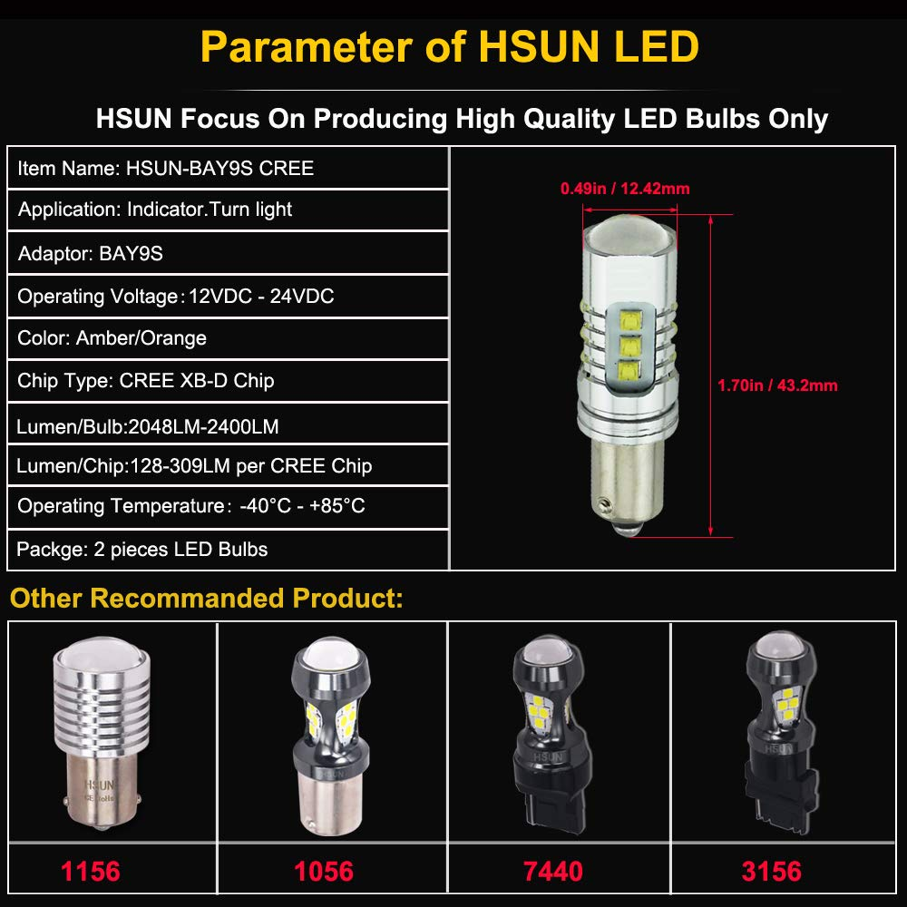 Backup Light and More,2 Pack,Amber//Yellow HSUN H21W BAY9S LED Bulbs,High Power XB-D Chipsets 4800LM Extremely Bright Bulbs with Canbus Error Free for Indicator