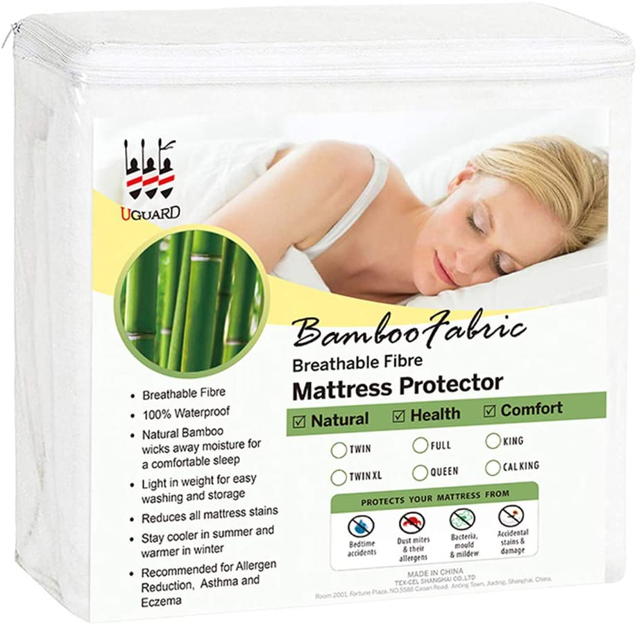 SUKAKA Twin Size Mattress Protector Waterproof Cover Soft Cotton Terry Surface Pad Cover