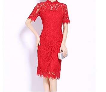 Wxpab Vestido Rojo De Manga Corta Cheongsam Vestido De