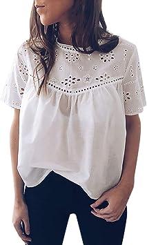 MINXINWY Sexys Camisetas Mujer, Camisas Mujer Fiesta Noche Camisa Casual de Manga Corta Blusas de Mujer Sexy Camisa Bordada Calado Blanco Tops Verano Playa Color sólido Tops: Amazon.es: Deportes y aire libre