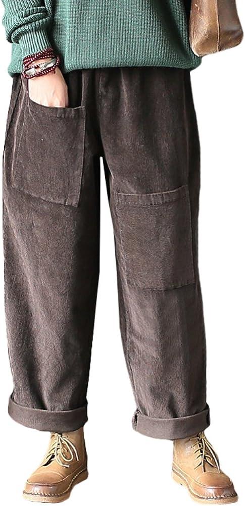 Vogstyle Pantalón de Pana para Mujer, con Bolsillos Frontales, Chic, desenfadado