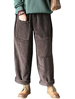 35e522ddb88722 Flygo Womens Corduroy Pants Elastic Waist Loose Fit Wide Leg Pant at ...
