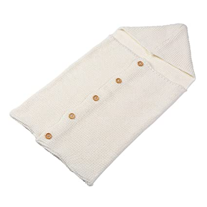 zhouba recién nacido bebé Crochet de Punto Bebé Swaddle muselina manta saco de dormir con botones